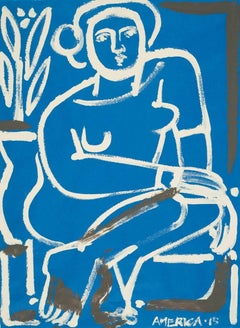 Woman on Blue Paper