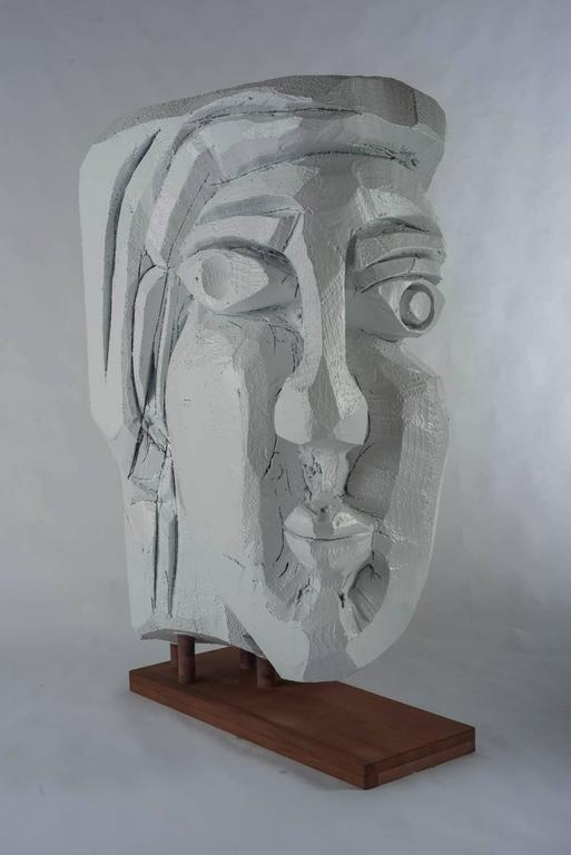 Woman Listens to the Wind-White Sculpture