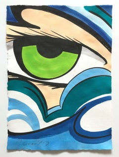 Untitled 32, John CRASH Matos, Street Art Watercolor - Figurative, Green Eye