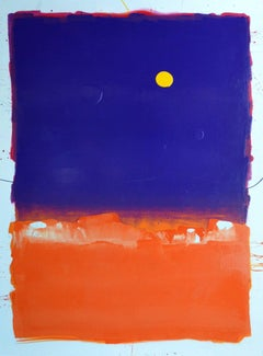 Lovely Purple Heart Square on Top of Orange Square with Yellow Blob Painting