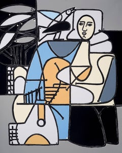 Woman and Blue Bird