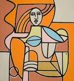 Woman in Orange and Tan