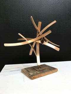 Studio Study 18-14 (Abstract Bronze Sculpture with Wood Base)