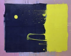 Dark Blue Sky with Yellow Moon Blob Abstract Painting