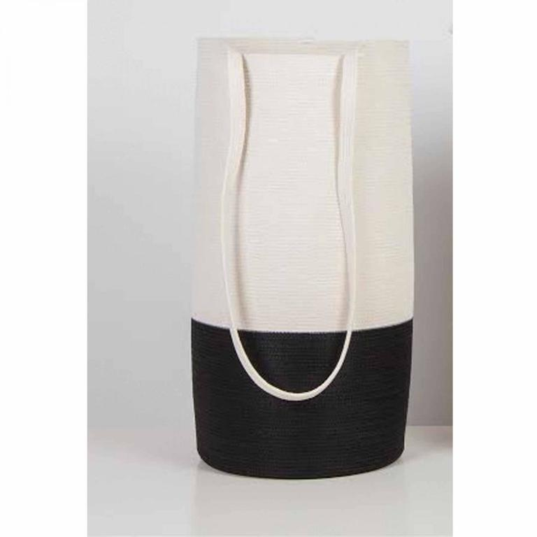 Doug Johnston Abstract Sculpture - TALL BASKET WITH LONG STRAP IN BLACK NYLON/WHITE COTTON