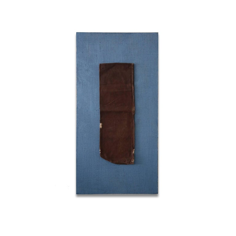 Saké I by artist Kim Fonder is a contemporary and abstract vintage saké bag on painted burlap with plexiglass that measures 49 x 25 and is priced at $2,100.  Kim Fonder loves texture and touch. Her paintings and furniture reflect her infatuation
