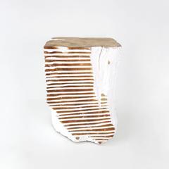 Carved white teak stool