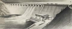 Original Architectural Illustration of a Dam by Hugh Ferriss, 1942