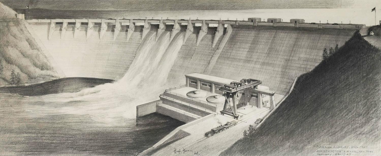 Hugh Ferriss Original Architectural Illustration Of A