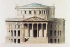 Pair of Large ca. 1845 Beaux Arts Drawings -  Paris Opera House