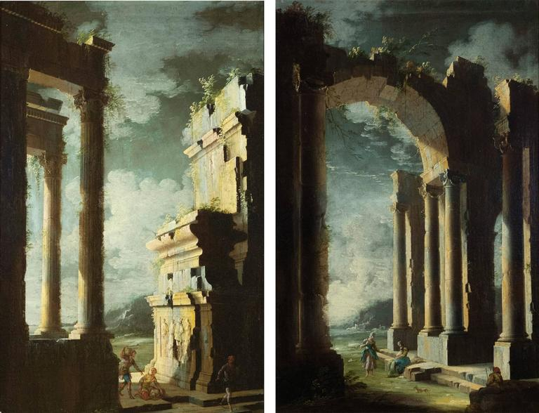 Pair of Early 18th Century Italian Architectural Paintings by Coccorante