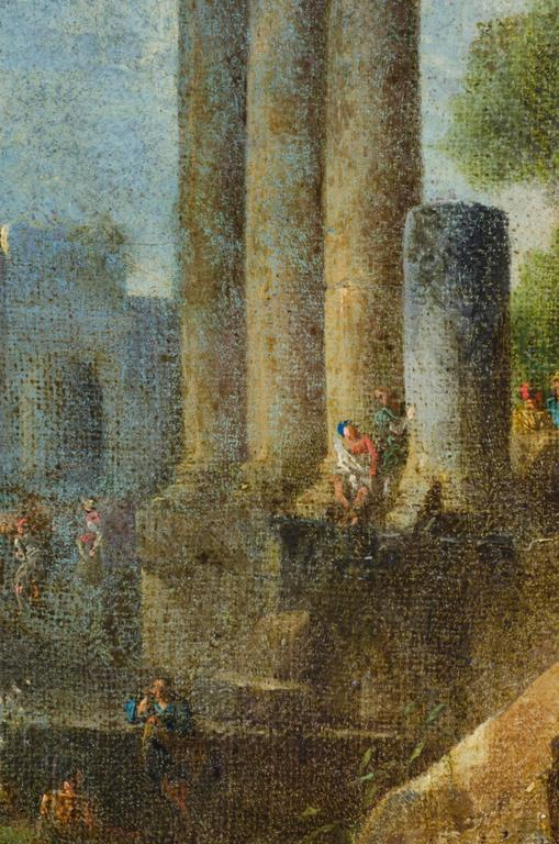 Accomplished 18th C. Roman School Grand Tour Architectural Ruins Painting 1
