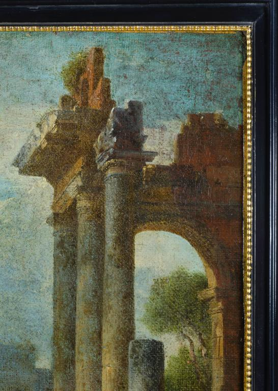 The phenomenon of Italian ruin painting began in the mid-17th century, and is a Baroque development. It reached its Zenith in the mid-18th century, the genre's best-known and most successful practitioner was the Roman artist Gian Paolo Panini. Ruin