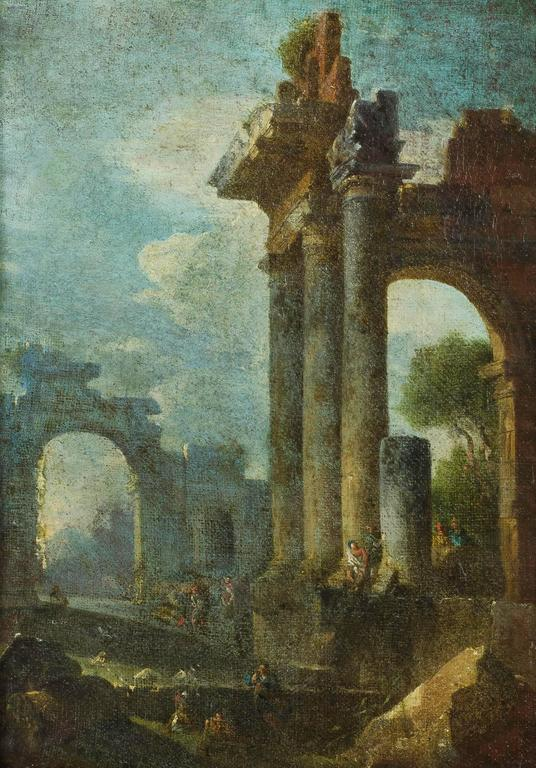 Accomplished 18th C. Roman School Grand Tour Architectural Ruins Painting - Black Landscape Painting by Unknown