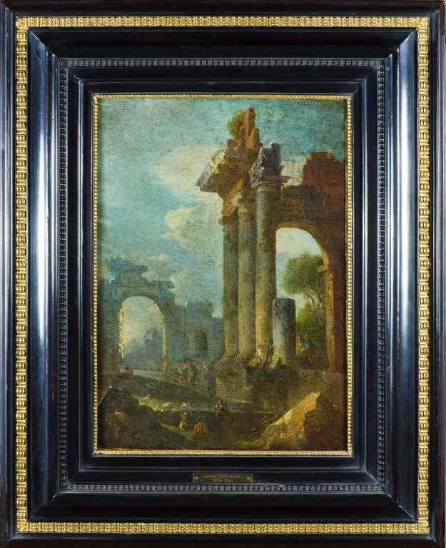 Unknown Landscape Painting - Accomplished 18th C. Roman School Grand Tour Architectural Ruins Painting