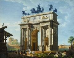 Striking Hand-Colored Engraving of Milan's Arco della Pace by Giovanni Migliara