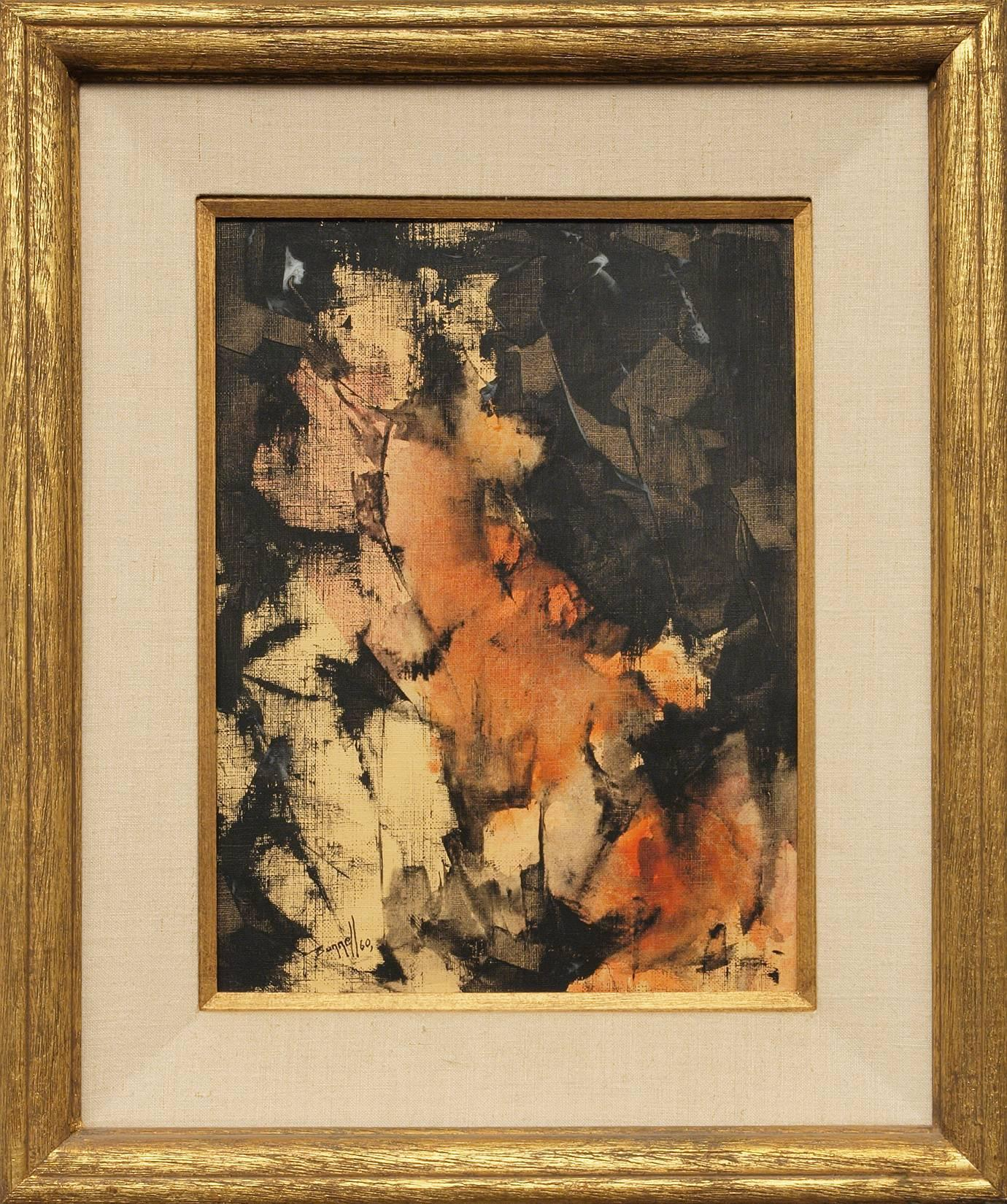 Untitled (Abstract Expressionist Painting with Orange & Black, 1960)
