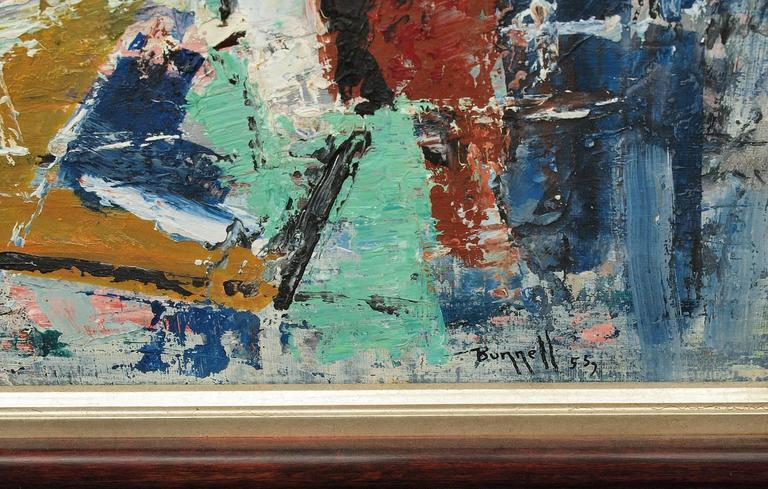 New York Harbor (Abstract Expressionist Composition) - Black Abstract Painting by Charles Ragland Bunnell