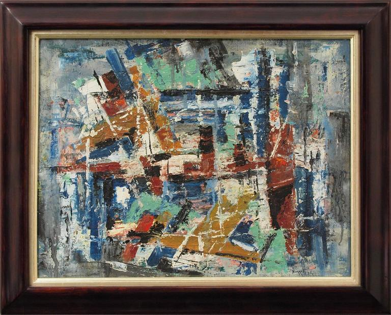 Charles Ragland Bunnell Abstract Painting - New York Harbor (Abstract Expressionist Composition)
