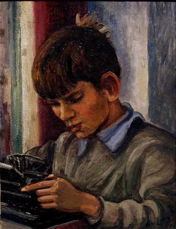 Untitled (Portrait of a Boy) - Painting by Carl Lindin