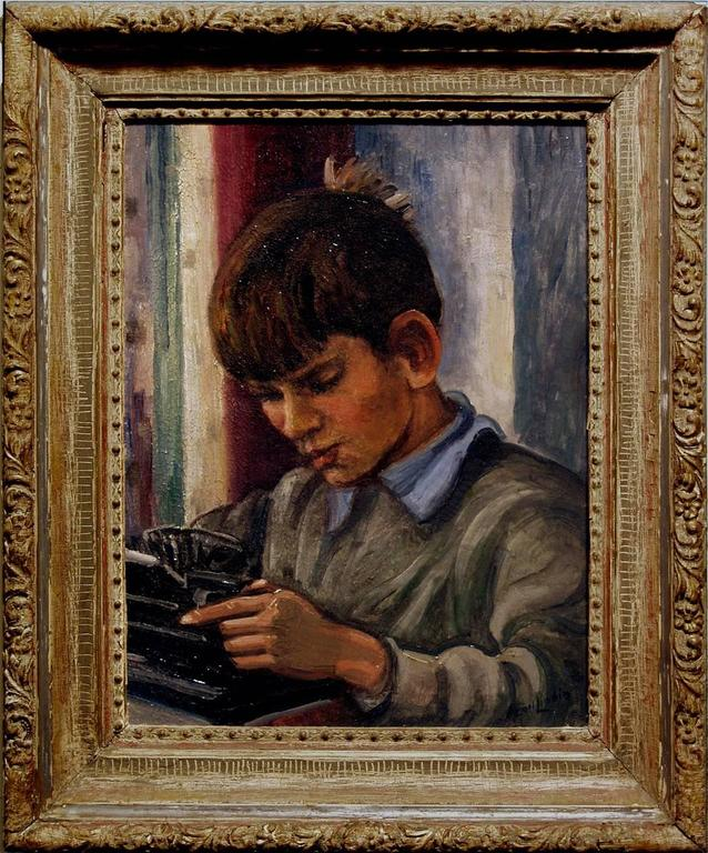Carl Lindin Portrait Painting - Untitled (Portrait of a Boy)