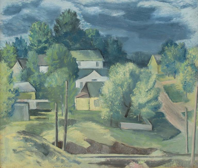 Untitled (Colorado Hill Town) - Painting by Paul Kauver Smith
