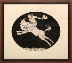 Rider on Bucking Bronco (Original Artwork for 1937 Sun Valley Rodeo Poster)