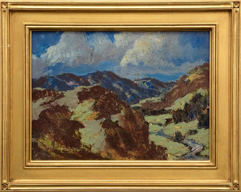 Oil on board. Framed dimensions measure 12.375 x 15.5 x 1 inches.  Image measures 8.75 x 12 inches.  About the Artist: Paul Kauvar Smith studied commercial art and design at the St. Louis School of Fine Arts from 1915-16 with a brief interruption