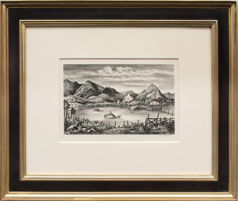 Farm in the Rockies (Colorado) - original framed vintage lithograph - American Modern Print by Frederick Shane