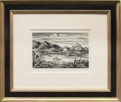 Farm in the Rockies (Colorado) - original framed vintage lithograph