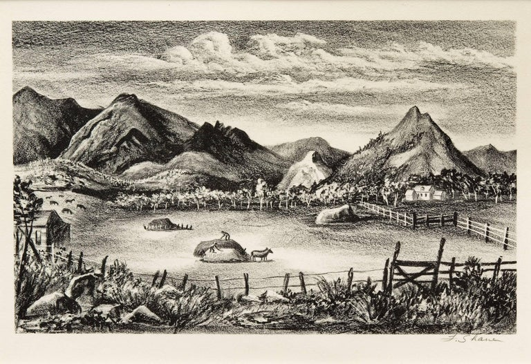 Farm in the Rockies (Colorado) - original framed vintage lithograph - Beige Landscape Print by Frederick Shane