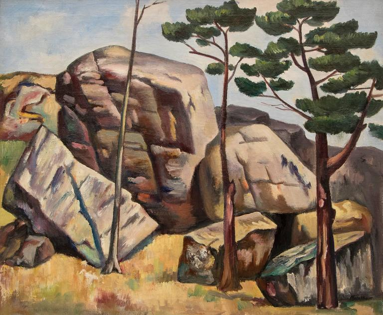Untitled (Modernist Landscape with Rocks and Trees) - Painting by Jan Matulka