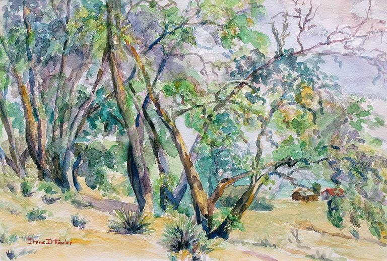 Untitled Landscape Painting of Trees Near a Colorado Ranch - American Impressionist Art by Irene D. Fowler