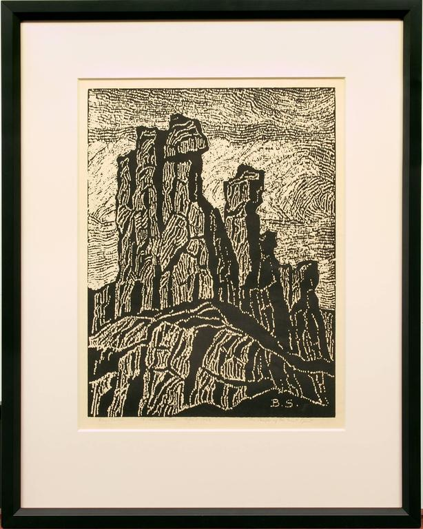 Birger Sandzen Landscape Print - The Temple of the Great Spirit (Colorado)