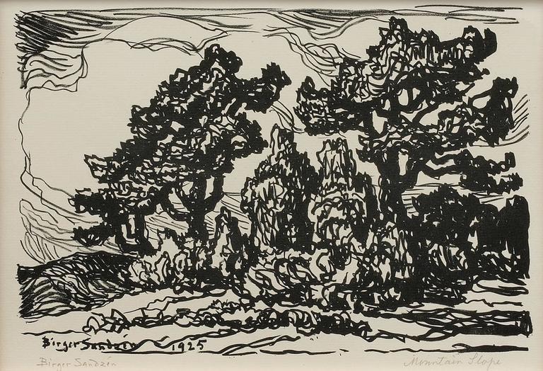 Mountain Slope  - Print by Sven Birger Sandzen