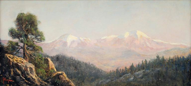 Spanish Peaks (Colorado Mountain Landscape) - Hudson River School Painting by Jerry Malzahn