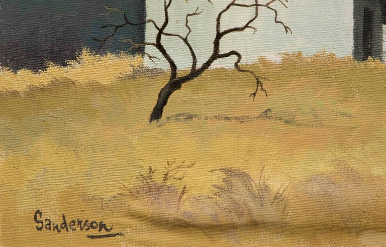 Red Barn and Tree (Colorado) - American Modern Painting by William Sanderson