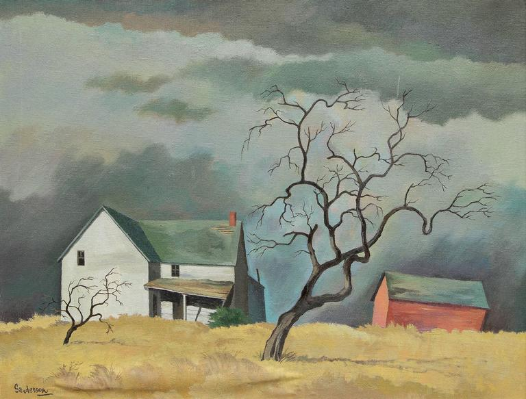 Red Barn and Tree (Colorado) - Painting by William Sanderson
