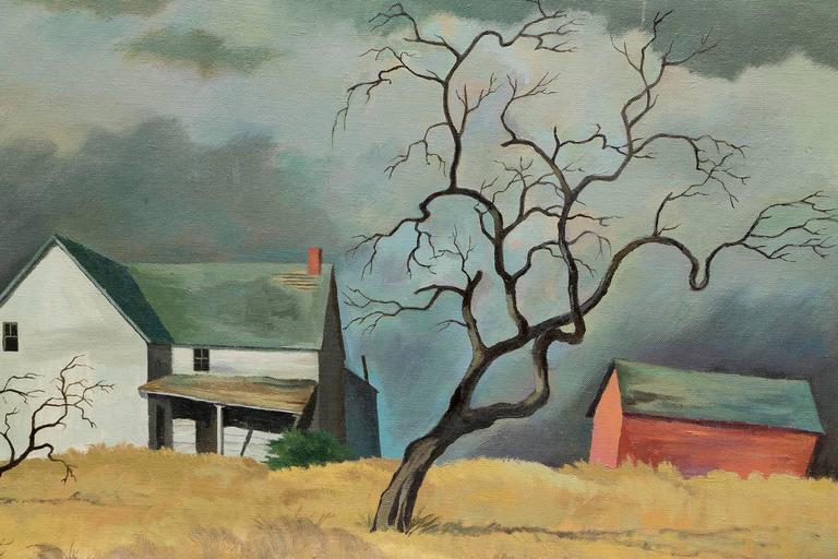 Red Barn and Tree (Colorado) - Brown Landscape Painting by William Sanderson