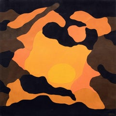 Sundown Pool (Abstract Painting in Orange, Yellow, Black & Brown)