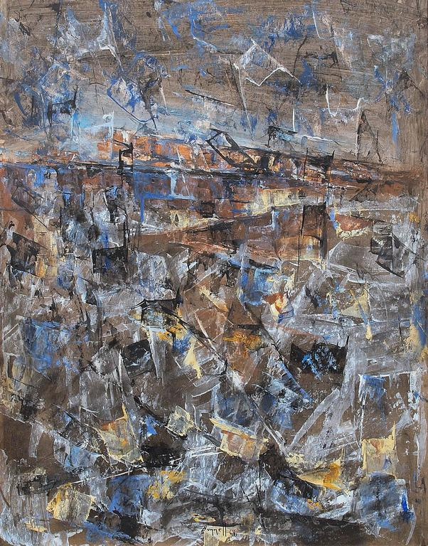 Untitled (Abstract Expressionist Composition) - Gray Abstract Painting by Charles Ragland Bunnell