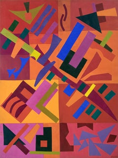 Celebration (Abstract Painting in Orange, Pink, Yellow, Blue, Purple & Green)
