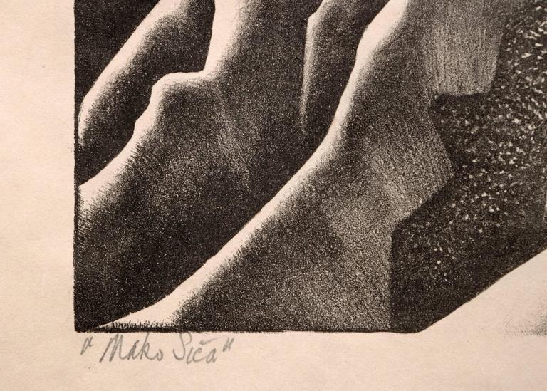 Mako Sica (Tchaikovsky's Sixth, The Badlands) - Beige Figurative Print by Ross Eugene Braught