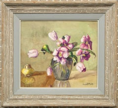 Still Life Painting, Vase of Tulips, Violet, Pink, Yellow, Orange, Gray, Green