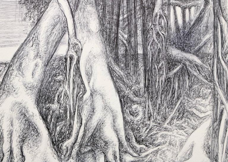 Figure Within Trees - Gray Figurative Art by Ross Eugene Braught
