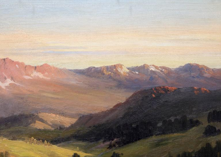 Original early oil painting of Estes Park, Rocky Mountain National Park, Colorado by Texas artist, Robert Wood.  Presented in a vintage frame, outer dimensions measure 34 ½ x 42 ½ x 1 ½ inches. Image size is 28 x 36 inches. Robert William Wood was