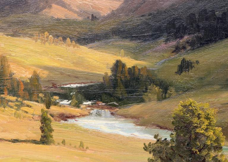 Estes Park, Colorado (Rocky Mountain National Park) - Brown Landscape Painting by Robert Wood