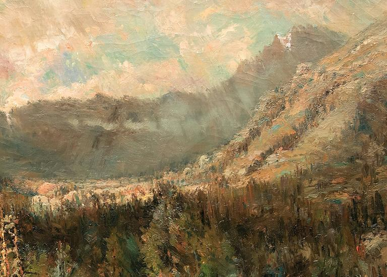 Untitled (Ouray, Colorado) - Brown Landscape Painting by William H. M. (Coxe) Cox