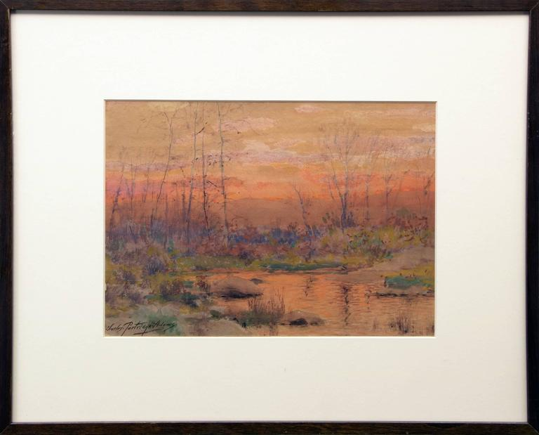 Untitled (River at Sunset, Colorado) - Painting by Charles Partridge Adams