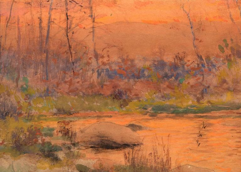 Untitled (River at Sunset, Colorado) - Hudson River School Painting by Charles Partridge Adams
